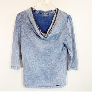 Blue Willi's cowl neck pullover